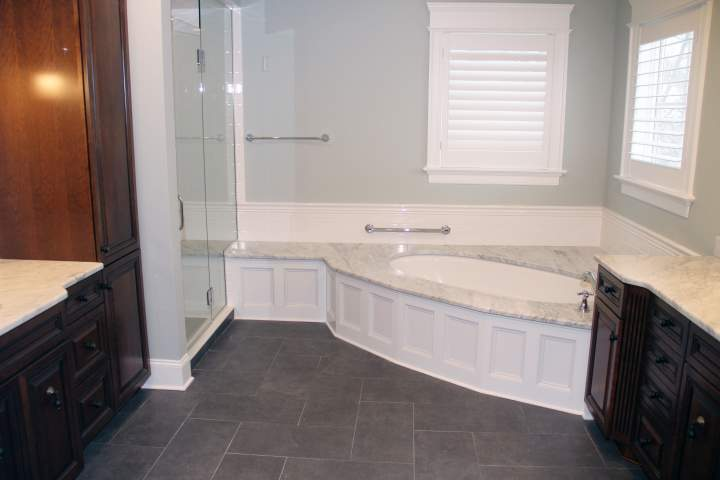 Traditional Master Bath with Carrara Marble
